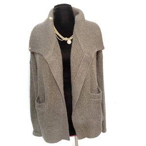 NWOT Gray/Gold Metallic Knit Cardigan Oversize XS